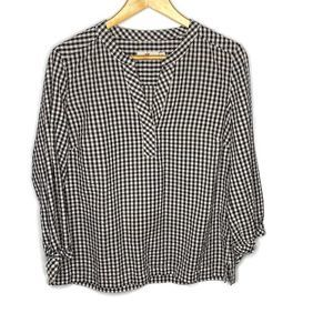 Vineyard Vines Black Check Print Popover Top M